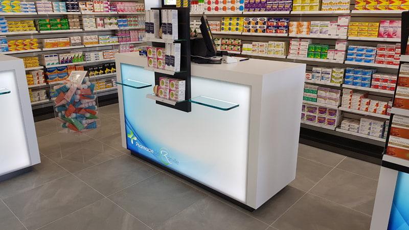 Comptoir de vente double pharmacie Ranville