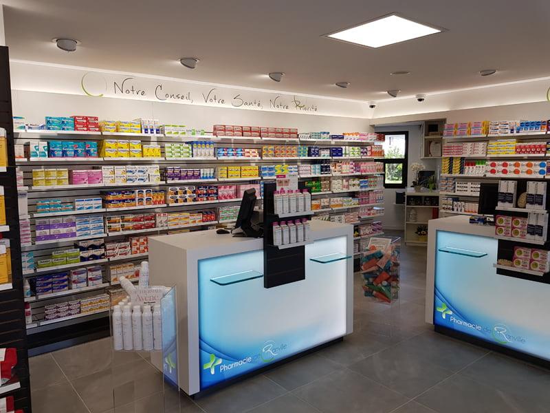 Comptoirs de vente rétroéclairés pharmacie Calvados
