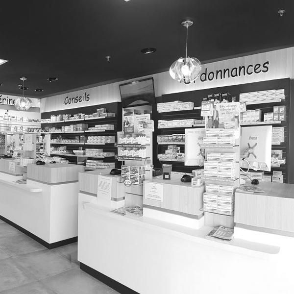 création de comptoir de confidentialité pour pharmacie